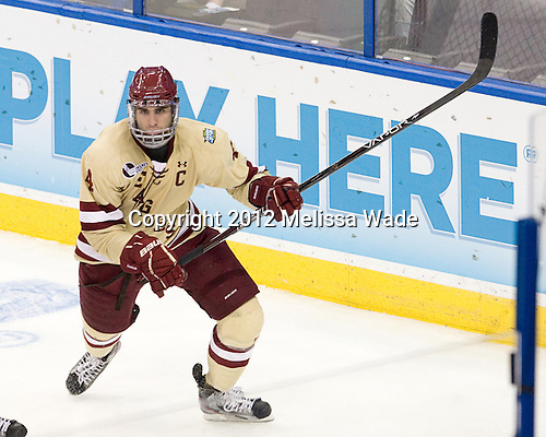 Tommy Cross (BC - 4) - The Boston College Eagles defeated the University of Minnesota Golden Gophers 6-1 in their 2012 Frozen Four semi-final on Thursday, April 5, 2012, at the Tampa Bay Times Forum in Tampa, Florida.