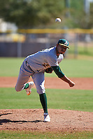 Oakland Athletics pitcher Xavier Altamirano (25) during an instructional league game against the Los Angeles Angels on October 9, 2015 at the Tempe Diablo Stadium Complex in Tempe, Arizona.  (Mike Janes/Four Seam Images)