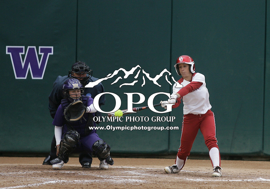 28 May 2010:  Oklahoma's Haley Anderson grounds out against Washington.  Washington defeated Oklahoma 3-0 in the second game of the NCAA Super Regional at Husky Softball Stadium in Seattle, WA.