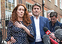 Pic shows: Rebekah Brooks and Charlie Brooks on steps of their home tonight after making statement<br /> She was emotional and put her hand on her heart<br /> <br /> <br /> Pic by Gavin Rodgers/Pixel 8000 Ltd