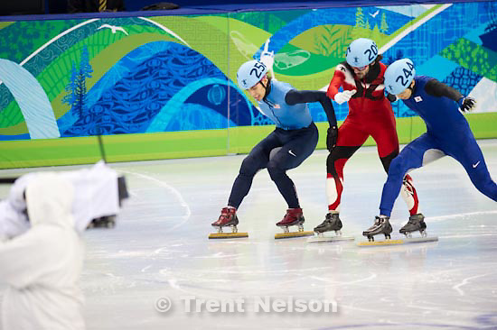 Trent Nelson  |  The Salt Lake Tribune.Mens' 1000m, semifinal 2, Short Track Speed Skating, at the XXI Olympic Winter Games in Vancouver, Saturday, February 20, 2010. Apolo Anton Ohno 256, Charles Hamelin 205, Sung Si-Bak 244, Han Jialiang 209