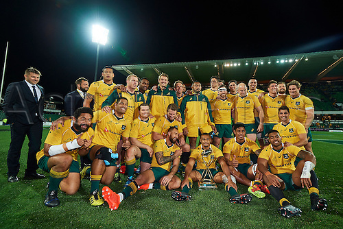 17.09.2016. Perth, Australia.  The Wallabies celebrate the win with the Puma Trophy during the Rugby Championship test match between the Australian Qantas Wallabies and Argentina's Los Pumas from NIB Stadium - Saturday 17th September 2016 in Perth, Australia.