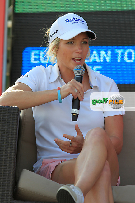 Melisse Reid (ENG) talks in the tented village during Friday's Round 2 of the Abu Dhabi HSBC Golf Championship 2015 held at the Abu Dhabi Golf Course, United Arab Emirates. 16th January 2015.<br /> Picture: Eoin Clarke www.golffile.ie