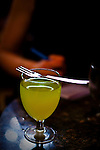 A glass of absinthe in the 200 year old Marsella Bar, Barcelona, Catalonia, Spain.