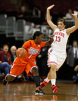 Bowling Green Falcons guard Jasmine Matthews (1) drives by Ohio State Buckeyes guard Cait Craft (13) in the first half at Value City Arena in Columbus Nov. 24, 2013.(Dispatch photo by Eric Albrecht)