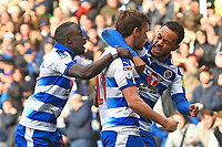 John Swift of Reading middle celebrates his goal with team mates to make the score 1-1 during Reading vs Wigan Athletic, Sky Bet EFL Championship Football at the Madejski Stadium on 9th March 2019