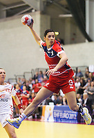 22 MAR 2012 - LOUGHBOROUGH, GBR - Great Britain's Holly Lam Moores (GBR) shoots during the women's 2012 European Handball Championships qualification match against Poland at Loughborough University in Loughborough, Great Britain .(PHOTO (C) 2012 NIGEL FARROW)