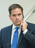 United States Senator Marco Rubio (Republican of Florida) speaks on his cell phone as he walks to the train in the US Capitol subway in Washington, DC on Tuesday, April 26, 2016.<br /> Credit: Ron Sachs / CNP