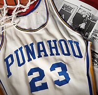 BNPS.co.uk (01202 558833)<br /> Pic: HeritageAuctions/BNPS<br /> <br /> Barack Obama's high school basketball top has emerged for sale for £80,000. ($100,000)<br /> <br /> The former president was a callow 18 year old when he wore the white number 23 jersey for Punahou School in Hawaii 40 years ago.<br /> <br /> His love of the sport endured into adulthood and he was frequently seen playing it at the White House.<br /> <br /> The top was due to be discarded at the end of the 1978/79 season, but his team-mate Peter Noble decided to take it home as he had also worn it when Obama was not able to play.<br /> <br /> He kept hold of it as a souvenir as they had become state champions. Now, four decades later, he is selling it with Heritage Auctions, of Dallas, Texas.