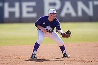 High Point Panthers third baseman Dane McDermott (7) on defense against the UNCG Spartans at Willard Stadium on February 14, 2015 in High Point, North Carolina.  The Panthers defeated the Spartans 12-2.  (Brian Westerholt/Four Seam Images)