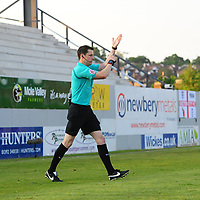 Referee Darren England disallows a goal by Lincoln City's Elliott Whitehouse for handball<br /> <br /> Photographer Chris Vaughan/CameraSport<br /> <br /> The EFL Sky Bet League Two Play Off Second Leg - Exeter City v Lincoln City - Thursday 17th May 2018 - St James Park - Exeter<br /> <br /> World Copyright &copy; 2018 CameraSport. All rights reserved. 43 Linden Ave. Countesthorpe. Leicester. England. LE8 5PG - Tel: +44 (0) 116 277 4147 - admin@camerasport.com - www.camerasport.com