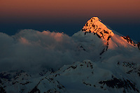 Russia, Caucasus, Early morning light on sharp peaks, seen from Elbrus.