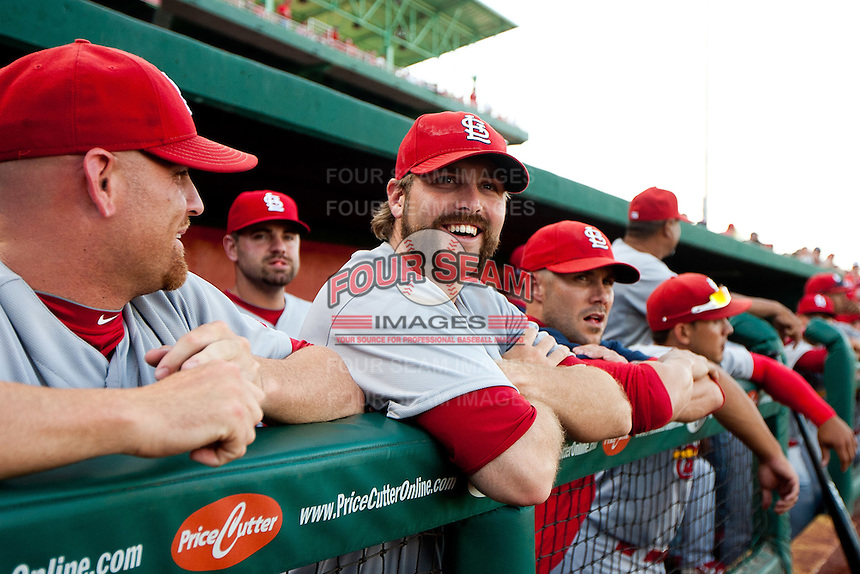 Mitchell Boggs (41) of the St. Louis Cardinals laughs at a joke prior to a game against the Springfield Cardinals at Hammons Field on April 2, 2012 in Springfield, Missouri. (David Welker/Four Seam Images)