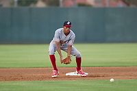 AZL Reds shortstop Urwin Juaquin (2) on defense against the AZL Athletics on July 16, 2017 at Lew Wolff Training Complex in Mesa, Arizona. AZL Athletics defeated the AZL Reds 13-5. (Zachary Lucy/Four Seam Images)