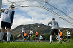Coniston v Penrith, 20/09/2008. Westmorland League. Coniston defend a corner. Photo by Paul Thompson.