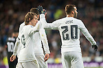 Real Madrid's Luka Modric and Jese Rodriguez celebrating a goal during La Liga match. March 20,2016. (ALTERPHOTOS/Borja B.Hojas)