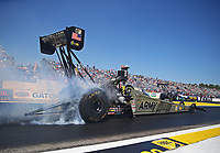Mar 16, 2018; Gainesville, FL, USA; NHRA top fuel driver Tony Schumacher during qualifying for the Gatornationals at Gainesville Raceway. Mandatory Credit: Mark J. Rebilas-USA TODAY Sports