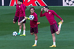 Antoine Griezmann and Diego Godin of Atletico de Madrid during the training before the match of Champions League between Real Madrid and Atletico de Madrid at Santiago Bernabeu Stadium  in Madrid, Spain. May 01, 2017. (ALTERPHOTOS/Rodrigo Jimenez)