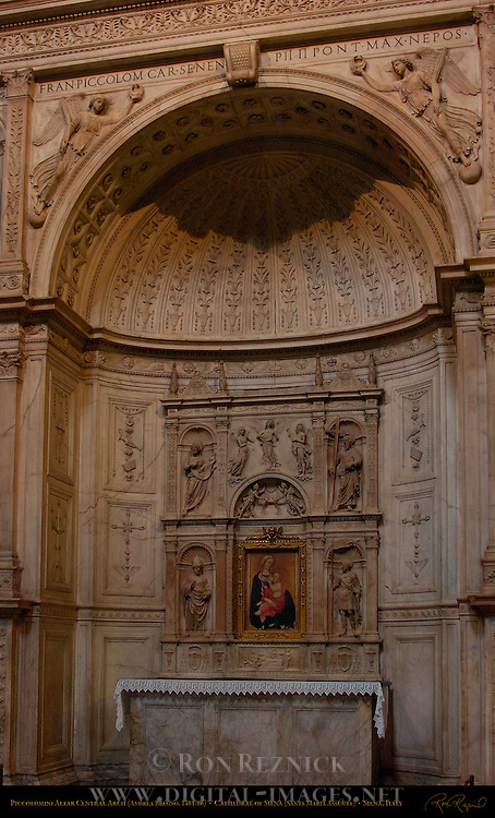 Piccolomini Altar Central Arch, Madonna of Humility, Madonna dell'Umilta, Paolo di Giovanni Fei c. 1385, St. Andrew St. John the Baptist St. Pius St. Eustace, Andrea Bregno c. 1486, Cathedral of Siena, Santa Maria Assunta, Siena, Italy