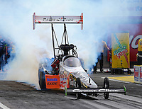 Apr 10, 2015; Las Vegas, NV, USA; NHRA top fuel driver Clay Millican during qualifying for the Summitracing.com Nationals at The Strip at Las Vegas Motor Speedway. Mandatory Credit: Mark J. Rebilas-