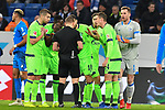 01.12.2018, wirsol Rhein-Neckar-Arena, Sinsheim, GER, 1 FBL, TSG 1899 Hoffenheim vs FC Schalke 04, <br /> <br /> DFL REGULATIONS PROHIBIT ANY USE OF PHOTOGRAPHS AS IMAGE SEQUENCES AND/OR QUASI-VIDEO.<br /> <br /> im Bild: Matija Nastasic (#5, FC Schalke 04), Salif Sane (FC Schalke 04 #26), Daniel Caligiuri (FC Schalke 04 #18), Suat Serdar (FC Schalke 04 #8) und Bastian Oczipka (FC Schalke 04 #24) diskutieren mit Schiedsrichter Dr. Robert Kampka nach der Gelben Karte fuer Matija Nastasic (#5, FC Schalke 04)<br /> <br /> Foto &copy; nordphoto / Fabisch