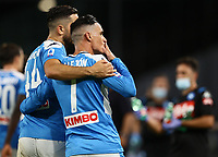 5th July 2020; Stadio San Paolo, Naples, Campania, Italy; Serie A Football, Napoli versus Roma; Jose Maria Callejon of Napoli celebrates with team mates after scoring for 1-0 in the 55th minute