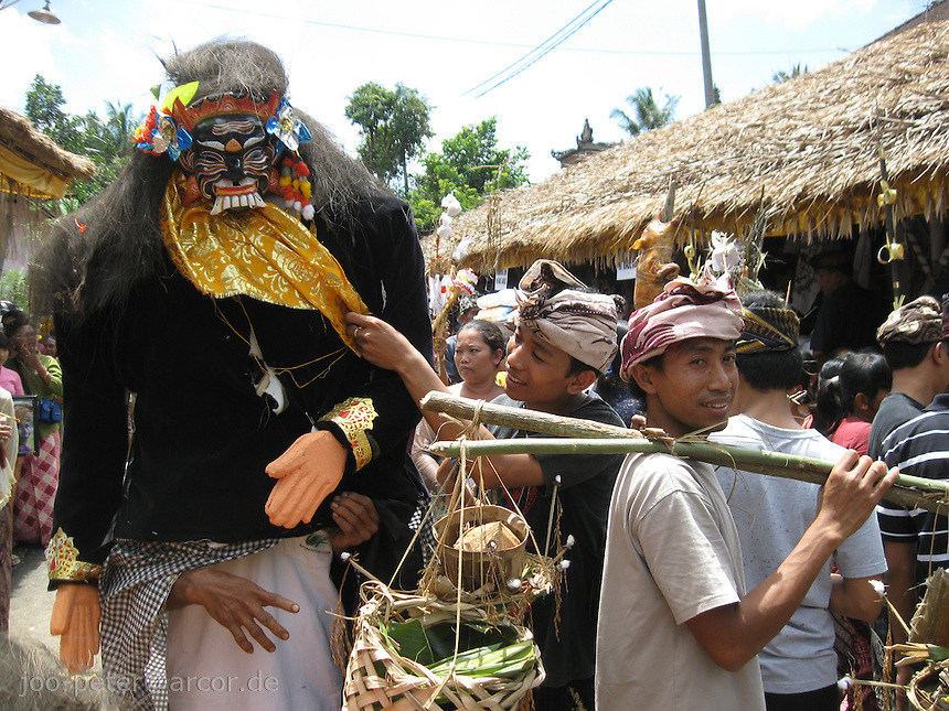 villagers prepare for procession for cremation ceremonies, village Laplapan, Bali, archipelago Indonesia