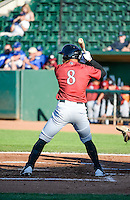 Amalani Fukofuka (8) of the Idaho Falls Chukars at bat against the Ogden Raptors in Pioneer League action at Lindquist Field on June 23, 2015 in Ogden, Utah. Idaho Falls beat the Raptors 9-6. (Stephen Smith/Four Seam Images)