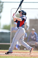 Cleveland Indians outfielder Clint Frazier (17) hits an in the park home run during an Instructional League game against the Kansas City Royals on October 9, 2013 at Surprise Stadium Training Complex in Surprise, Arizona.  (Mike Janes/Four Seam Images)