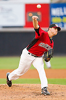 Starting pitcher Matt Thompson #16 of the Hickory Crawdads in action against the Greensboro Grasshoppers at L.P. Frans Stadium on May 18, 2011 in Hickory, North Carolina.   Photo by Brian Westerholt / Four Seam Images