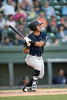 Shortstop Wilkerman Garcia (3) of the Charleston RiverDogs bats in a game against the Greenville Drive on Friday, April 27, 2018, at Fluor Field at the West End in Greenville, South Carolina. Greenville won, 5-4. (Tom Priddy/Four Seam Images)