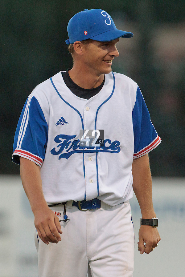 21 August 2010: Team manager Boris Rothermundt of Team France is seen during Russia 13-1 win in 7 innings over France, at the 2010 European Championship, under 21, in Brno, Czech Republic.
