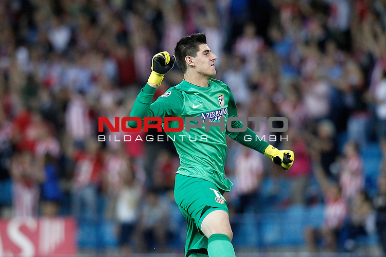 Atletico de Madrid's Thibaut Courtois celebrates goal during Champions League 2013/2014 match.September 18,2013. Foto © nph / Acero)