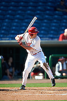 Ball State Cardinals Matt Eppers (35) at bat during a game against the Louisville Cardinals on February 19, 2017 at Spectrum Field in Clearwater, Florida.  Louisville defeated Ball State 10-4.  (Mike Janes/Four Seam Images)