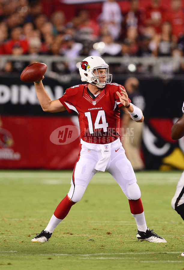 Aug. 17, 2012; Glendale, AZ, USA; Arizona Cardinals quarterback (14) Ryan Lindley against the Oakland Raiders during a preseason game at University of Phoenix Stadium. The Cardinals defeated the Raiders 31-27. Mandatory Credit: Mark J. Rebilas-