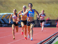 Nikki Hamblin takes the lead on the final straight in the women's 1500m final on day three of the 2015 National Track and Field Championships at Newtown Park, Wellington, New Zealand on Sunday, 8 March 2015. Photo: Dave Lintott / lintottphoto.co.nz