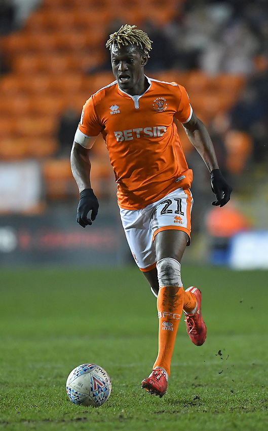Blackpool's Armand Gnanduillet<br /> <br /> Photographer Dave Howarth/CameraSport<br /> <br /> The EFL Sky Bet League One - Blackpool v Doncaster Rovers - Tuesday 12th March 2019 - Bloomfield Road - Blackpool<br /> <br /> World Copyright © 2019 CameraSport. All rights reserved. 43 Linden Ave. Countesthorpe. Leicester. England. LE8 5PG - Tel: +44 (0) 116 277 4147 - admin@camerasport.com - www.camerasport.com