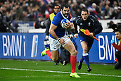 February 1st 2019, St Denis, Paris, France: 6 Nations rugby tournament, France versus Wales;  Yoann Huget (fr) breaks along the wing to score his try