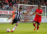 Grimsby Town's Brandon Comley is closed down by Leyton Orient's Josh Koroma during the Sky Bet League 2 match between Leyton Orient and Grimsby Town at the Matchroom Stadium, London, England on 11 March 2017. Photo by Carlton Myrie / PRiME Media Images.
