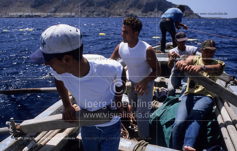 ITALY, Sicily, Egedian island Favignana, La Mattanza, traditional fishing of bluefin Tuna fish, rowing boats in front of Tonnara