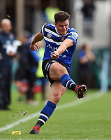 Freddie Burns of Bath Rugby kicks for the posts. Gallagher Premiership match, between Bath Rugby and Gloucester Rugby on September 8, 2018 at the Recreation Ground in Bath, England. Photo by: Patrick Khachfe / Onside Images