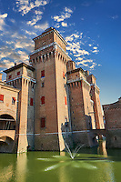 Castello Estense or Castello di San Michele, the 16th century Este Marquis fortification, Farrara, Northern Italy