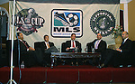 17 November 2007: From left: Screaming Eagles founder Matt Mathai, DC United co-managing partner William H.C. Chang, DC United broadcaster and emcee of the Summit Dave Johnson, MLS Commissioner Don Garber, and MLS Deputy Commissioner Ivan Gazidis. The Screaming Eagles, a DC United fan group, hosted the 2007 Supporters Summit, held at Babylon Futbol Club in Falls Church, Virginia one day before MLS Cup 2007, Major League Soccer's championship game.