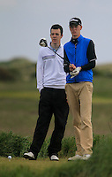 Paul Coughlan (Moate) and caddy during the 2nd round of the East of Ireland Amateur Open Championship 2013 Co Louth Golf club 2/6/13<br /> Picture:  Thos Caffrey / www.golffile.ie