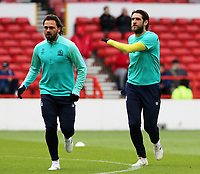 Blackburn Rovers' Danny Graham (right) & Bradley Dack during the pre-match warm-up <br /> <br /> Photographer David Shipman/CameraSport<br /> <br /> The EFL Sky Bet Championship - Nottingham Forest v Blackburn Rovers - Saturday 13th April 2019 - The City Ground - Nottingham<br /> <br /> World Copyright © 2019 CameraSport. All rights reserved. 43 Linden Ave. Countesthorpe. Leicester. England. LE8 5PG - Tel: +44 (0) 116 277 4147 - admin@camerasport.com - www.camerasport.com