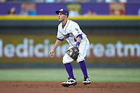 Winston-Salem Dash second baseman Nick Madrigal (4) on defense against the Myrtle Beach Pelicans at BB&T Ballpark on August 6, 2018 in Winston-Salem, North Carolina. The Dash defeated the Pelicans 6-3. (Brian Westerholt/Four Seam Images)