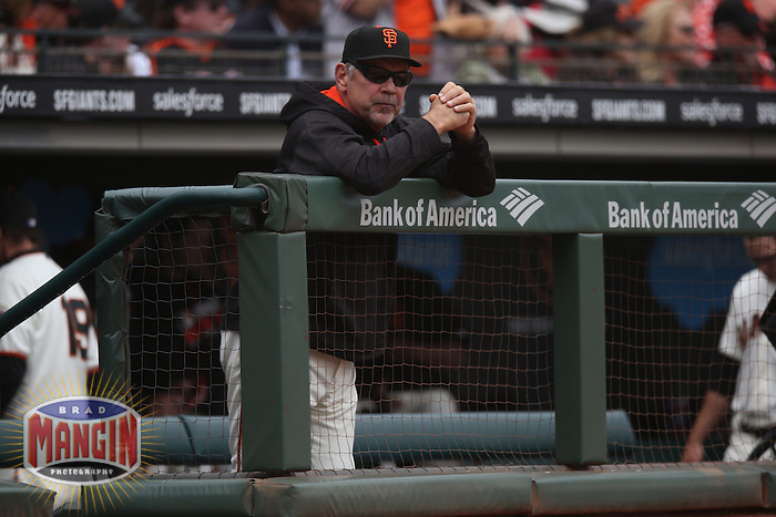 SAN FRANCISCO, CA - MAY 25:  Manager Bruce Bochy #15 of the San Francisco Giants watches from the dugout during the game against the San Diego Padres at AT&T Park on Wednesday, May 25, 2016 in San Francisco, California. Photo by Brad Mangin