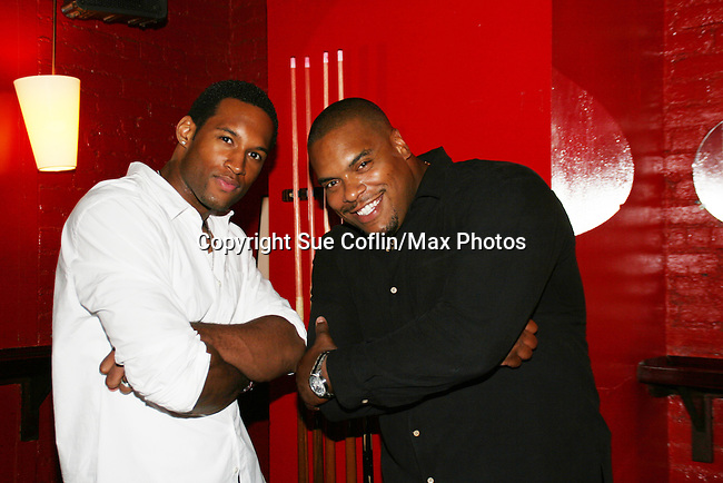 OLTL's Sean Ringgold poses with GL's Lawrence Saint-Victor who was his special guest at Sean's fan Gathering at Prohibition, NYC on Aug 14, 2008. Auctioned off items. for a benefit. (Photo by Sue Coflin/Max Photo)