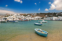 The Greek island of Mykonos is located in the central Aegean Sea and belongs to the a group of 220 islands known as Cyclades. It is home to a resident population of around 10,000.