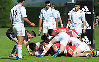 Referee Richard Gordon takes a close look as Tonga drives over the tryline during the international rugby match between  New Zealand Schools Barbarians and Tonga Schools at the Sport and Rugby Institute in Palmerston North, New Zealand on Thursday, 28 September 2017. Photo: Dave Lintott / lintottphoto.co.nz